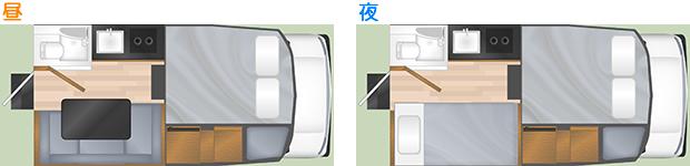 トラックキャンパー T17 の内部レイアウト